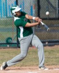 Wilby's Kevin Bruno (18) pops up the ball during his plate appearance during their scrimmage with Nonnewaug Monday at Nonnewaug High School in Woodbury. Jim Shannon Republican American