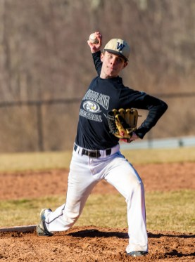 Woodland's Cameron Heeman delivers a pitch during their scrimmage with Pomperaug Tuesday at Woodland Regional High School in Beacon Falls Jim Shannon Republican American