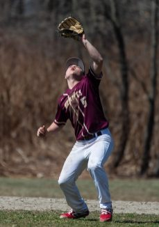 Sacred Heart's Nathaniel Suzanne (5) parks under a pop fly during their game against Notre Dame-Fairfield Saturday at Waterville Park in Waterbury. Jim Shannon Republican American