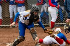 Seymour catcher Kolby Sirowich #15 tags out St Paul's Ava Hampton #4 at home plate, during a girls NVL Softball game between St Paul and Seymour at Seymour High School in Seymour on Monday. Bill Shettle Republican-American