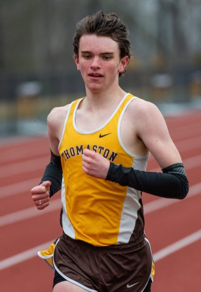 Thomaston's Jack McMahon won the 1600 meter run during their Berkshire League meet with Housatonic Tuesday at Nystrom's Sports Complex in Thomaston. Jim Shannon Republican American