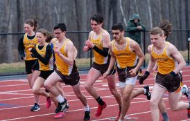 Runners take to the track for the 800 meter run a Berkshire League meet between Thomaston and Housatonic Tuesday at Nystrom's Sports Complex in Thomaston. Jim Shannon Republican American