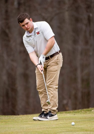 Watertown's Andrew Cattaneo watch his putt during their match with Torrington Thursday at Crestbrook Park in Watertown. Jim Shannon Republican American