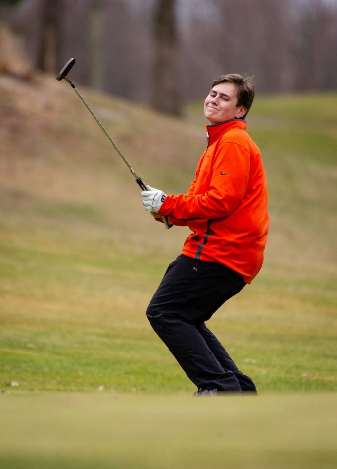 Watertown's Ian Wivestad reacts as his putt comes up short during their match with Torrington Thursday at Crestbrook Park in Watertown. Jim Shannon Republican American