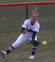 Torrington #9 outfielder Suzie Navin grabs a grounder against Wolcott Friday afternoon at Torrington. Wolcott won 20-2. Jonathan Wilcox Republican-American