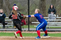 Nonnewaug's Nicole Mercer #15 tags out Savannah Wheeler #20 trying to get back to first, for a double play, during a Girls BL Softball game between Wamogo and Nonnewag at Nonnewaug High School in Woodbury on Thursday. Bill Shettle Republican-American