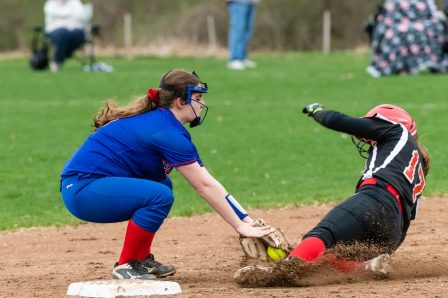 Wamogo's McKenzie Hoyt #17, right, is tagged out trying to slide into at second by Nonnewaug's Brianna hynds #5, during a Girls BL Softball game between Wamogo and Nonnewag at Nonnewaug High School in Woodbury on Thursday. Bill Shettle Republican-American