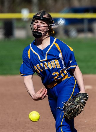 Seymour's Molly Adamo (20) delivers a pitch during their NVL match-up with Woodland Wednesday at the Beacon Falls Recreational Complex. Jim Shannon Republican American