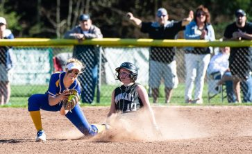Woodland'sMay Dawes (10) safely steals second base in front of the tag by Seymour's Alyssa Johnson (3) during their NVL match-up Wednesday at the Beacon Falls Recreational Complex. Jim Shannon Republican American