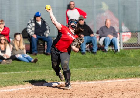 Northwestern's Riley Webb #20 steps on third and throws to first for a game ending double play, during a Girls BL Softball game between Northwestern and Wamogo at Wamogo High School in Litchfield on Wednesday. Northwestern beat their rival Wamogo 9-5. Bill Shettle Republican-American