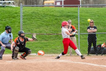 Wolcott's Katie Cosmos #7 hits for an rbi double, during a NVL Girls softball game between Terryville and Wolcott at Wolcott High School in Wolcott on Thursday. Bill Shettle Republican-American