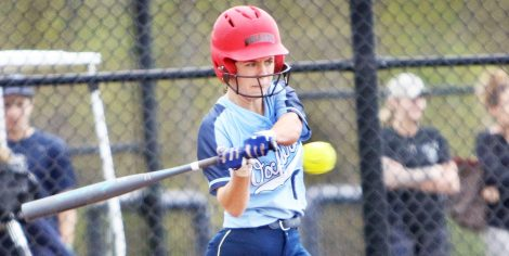 #0 Jenna Myers of Oxford High takes a swing against Seymour High during softball action in Oxford Monday. Steven Valenti Republican-American