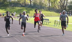 Boys from all three schools run qualifying heats during the three school track meet between Wilby, Woodland, and Derby at Woodland Regional High School on Tuesday afternoon. Emily J. Reynolds. Republican-American