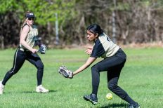 WCA's Andrea Araujo #7 can't get to a fly ball hit to her, during a Girls NVL Softball game between WCA and Kennedy at Roberto Clemente Field in Waterbury on Wednesday. Bill Shettle Republican-American