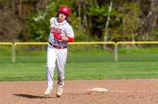 Wolcott's Trey Nastri #32 slowly rounds the bases after hitting a grand slam home-run, during a NVL Baseball game between Watertown and Wolcott at Wolcott High School in Wolcott on Wednesday. Bill Shettle Republican-American