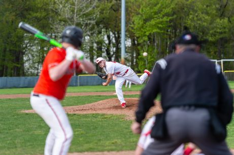 Wolcott pitcher Jack Moore #44 delivers a pitch from the mound, during a NVL Baseball game between Watertown and Wolcott at Wolcott High School in Wolcott on Wednesday. Bill Shettle Republican-American