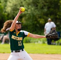 Holy Cross' Brandi McIntosh (13) delivers a pitch during their NVL game against SeymourThursday at Holy Cross High School. Jim Shannon Republican American