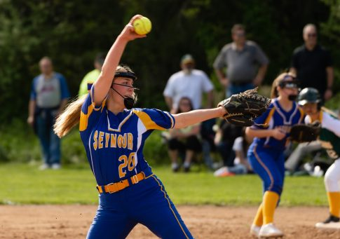Seymour's Molly Adamo (20) delivers a pitch during their NVL game against Holy Cross Thursday at Holy Cross High School. Jim Shannon Republican American