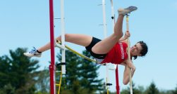Northwestern's Cassidhe Hughes clears the bar, but took second in the pole vault during Berkshire League Track and Field Championships Saturday at Litchfield High School. Jim Shannon Republican American