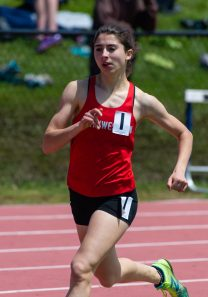 Northwestern's Sydney Dezenutis competes in the 800m run during Berkshire League Track and Field Championships Saturday at Litchfield High School. Jim Shannon Republican American