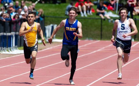 Gilbert's Dylan Amery, center, defeated Thomaston's Pat Hyres, left, and Shepaug's Gavin Block, to win the 200m run during Berkshire League Track and Field Championships Saturday at Litchfield High School. Jim Shannon Republican American