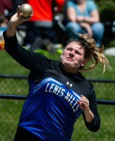 Lewis Mills' Sydney Mello competes in the shot put during Berkshire League Track and Field Championships Saturday at Litchfield High School. Jim Shannon Republican American