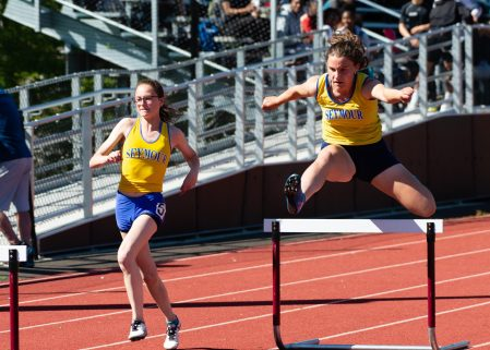 Seymour's Patricia Jurkowski, right was the winner of the 300m hurdles as she runs with teammate Katie Bruno, left, during the NVL Track and Field Championships held Tuesday at Torrington High School. Jim Shannon Republican American