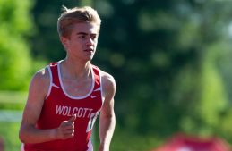 Wolcott's Nicholas Bendtsen was the winner in the 3200m run during the NVL Track and Field Championships held Tuesday at Torrington High School. Jim Shannon Republican American