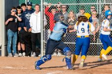 Oxford catcher Kaylee Cuomo #2 tags out Seymour's Shea McDaniel #9, to keep the score tied, in what would have been the winning run, during a Girls Softball NVL Championship game between Oxford and Seymour at Naugatuck High School in Naugatuck on Thursday. Oxford won in extra innings over Seymour 11-6 and wins the NVL Championship for 2019. Bill Shettle Republican-American