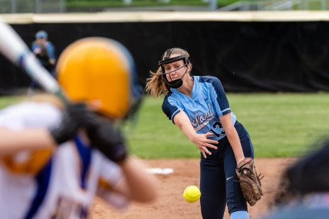 Oxford pitcher Sage Borkowski #13, delivers a pitch from the mound, during a Girls Softball NVL Championship game between Oxford and Seymour at Naugatuck High School in Naugatuck on Thursday. Oxford won in extra innings over Seymour 11-6 and wins the NVL Championship for 2019. Bill Shettle Republican-American