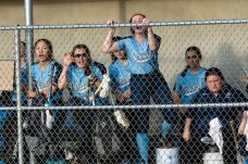 Oxford players cheer on their teammates from the dug out area, during a Girls Softball NVL Championship game between Oxford and Seymour at Naugatuck High School in Naugatuck on Thursday. Oxford won in extra innings over Seymour 11-6 and wins the NVL Championship for 2019. Bill Shettle Republican-American