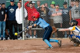 Oxford's Jenna Meyers #0 lays down a perfect bunt loading up the bases, during a Girls Softball NVL Championship game between Oxford and Seymour at Naugatuck High School in Naugatuck on Thursday. Oxford won in extra innings over Seymour 11-6 and wins the NVL Championship for 2019. Bill Shettle Republican-American