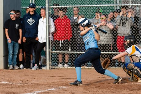 Oxford's Kaylee Cuomo #2 gets a rbi hit in extra innings, during a Girls Softball NVL Championship game between Oxford and Seymour at Naugatuck High School in Naugatuck on Thursday. Oxford won in extra innings over Seymour 11-6 and wins the NVL Girls Softball Championship for 2019. Bill Shettle Republican-American