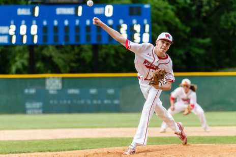 Wolcott pitcher Brett Adams #4 delivers a pitch from the mound, during the NVL championship game between Holy Cross and Wolcott at Municipal Stadium in Waterbury on Friday. Bill Shettle Republican-American