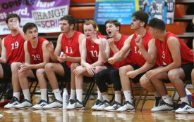 Cheshire High School players cheer from the bench as Cheshire battles Newington High School for the Class M boys volleyball title at Shelton High School on Thursday, June 6, 2019. Emily J. Reynolds. Republican-American