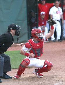Wolcott High School's Jeffrey Nicol makes a play behind the plate during the boys Class M baseball final on Palmer Field in Middletown against St. Joseph High School on Saturday, June 8, 2019. Emily J. Reynolds. Republican-American