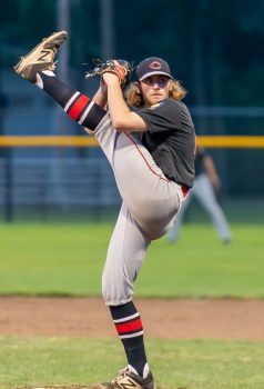 Cheshire's Rob Roles (21) delivers a pitch during their American Legion baseball tournament game against Naugatuck Monday at Ceppa Field in Meriden. Jim Shannon Republican-American