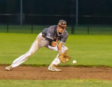 Naugatuck's Zach Graveline (3) fields a ground ball during their American Legion baseball tournament game against Cheshire Monday at Ceppa Field in Meriden. Jim Shannon Republican-American
