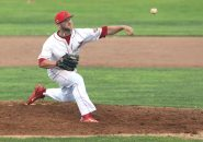 -Albany Athletics pitcher Chris Salamido delivers a pitch during the game against the Terryville Black Sox at Fuessenich Park on Thursday night. Emily J. Tilley. Republican-American