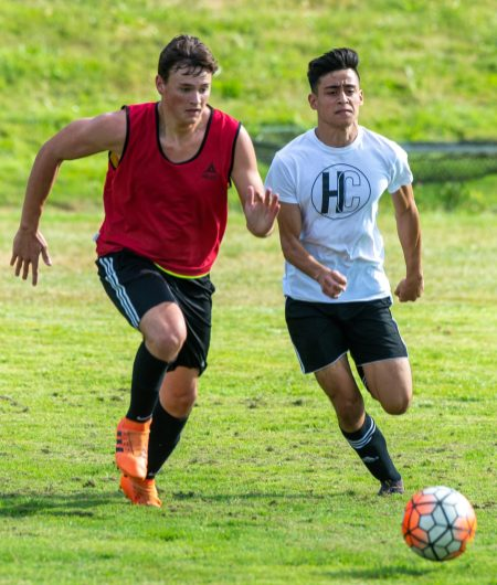 Holy Cross hosted Housatonic in boys soccer scrimmage Tuesday on Alumni Fiend at Holy Cross High School in Waterbury. Jim Shannon Republican-American