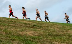 Pomperaug runners take to the hillside with runners from Bunnell, Joel Barlow and Notre Dame-Fairfield during their meet Tuesday at Pomperaug High School. Jim Shannon Republican-American