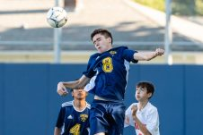 Kennedy's Yasin Azizoglu #8 jumps up high to head the ball, during a non league soccer match between Wolcott and Kennedy at Kennedy High School on Monday. Bill Shettle Republican-American