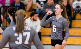 Naugatuck's Brielle Behuniak (6) celebrates a point during their 3-0 win over WCA in volleyball action Tuesday at Waterbury Career Academy. Jim Shannon Republican-American
