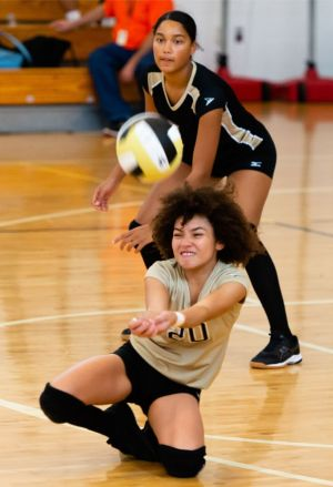 WCA's Yainiaris St. Hilaire (20) dives to try and dig the ball during their NVL match-up with Naugatuck Tuesday at Waterbury Career Academy. Jim Shannon Republican-American