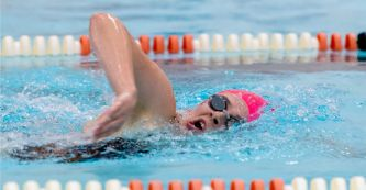 Watertown's Sarah Jacovino took first place in the 500m freestyle with a time of 6:04:17 during their NVL meet with Sacred Heart Tuesday at Watertown High School. Jim Shannon Republican-American