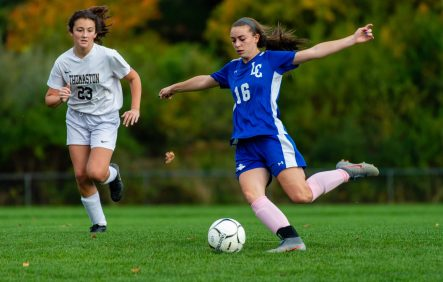 Litchfield's Ella Demers (16) takes a shot on goal as Thomaston's Kylie Decker (23) looks on during their Berkshire League game Thursday at the Plumb Hill Playing Fields. Jim Shannon Republican-American
