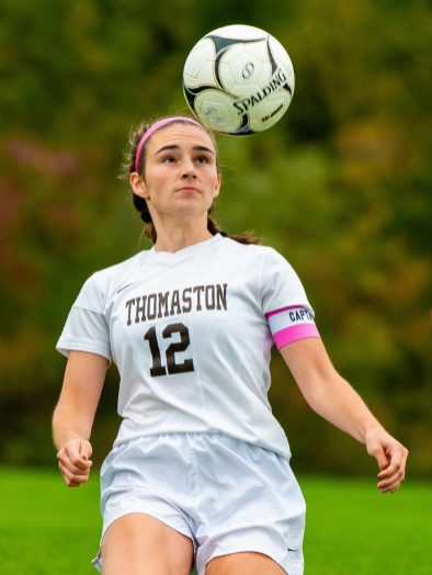 Thomaston's Sydney Stevenson (13) settles the ball during their Berkshire League game against Thomaston Thursday at the Plumb Hill Playing Fields. Jim Shannon Republican-American