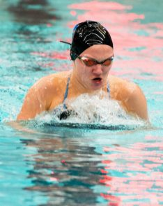 Seymour's Olivia Velleco competes in the 200 Yard Individual Medley during their with Naugatuck meet Friday at Naugatuck High School. Jim Shannon Republican-American