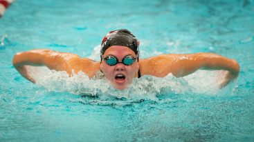 Naugatuck's Katelyn Fortney competes in the 100 Yard Butterfly during their meet with Seymour Friday at Naugatuck High School. Jim Shannon Republican-American