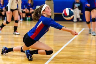 Nonnewaug's Anna Rupe (11) digs for the ball during their Berkshire League match up with Northwestern Tuesday at Woodbury Middle School. Jim Shannon Republican-American